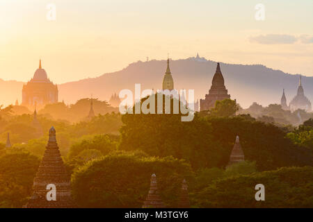 Bagan: Thatbyinnyu Temple, Ananda Temple, temples in Old Bagan, stupa Tan Kyi Paya atop mountain, , Mandalay Region, - Stock Photo