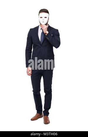 Businessman in formal wear holding mask, isolated on white - Stock Photo
