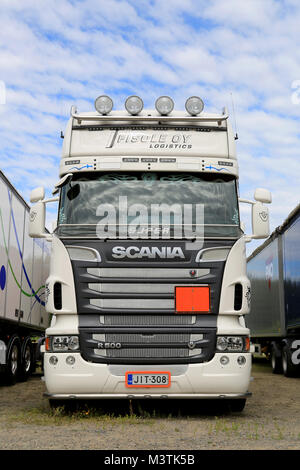 HATTULA, FINLAND - JULY 12, 2014: White Super Scania R500 V8 heavy truck on display at Tawastia Truck Weekend in - Stock Photo
