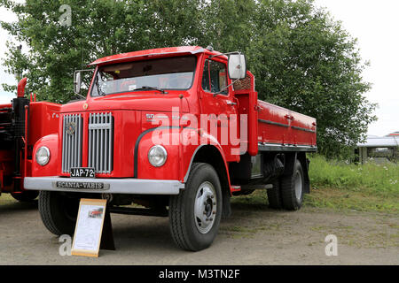 HATTULA, FINLAND - JULY 12, 2014: Classic red Scania L50 S42 pick up truck year 1972 for on display at Tawastia - Stock Photo