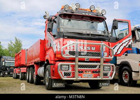 HATTULA, FINLAND - JULY 12, 2014: Red Sisu construction trailer truck with large bull bar on display at Tawastia - Stock Photo