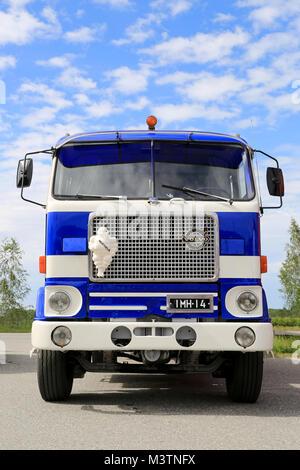 HATTULA, FINLAND - JULY 12, 2014: Vintage Volvo F88 tanker truck on display at Tawastia Truck Weekend in Hattula, - Stock Photo