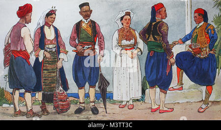 Fashion, clothes in southern Slavia around the 19th century, from the left, a Christian peasant, a Christian peasant - Stock Photo