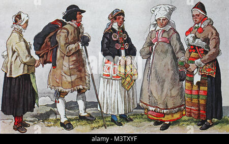 Fashion, clothes, costumes in Sweden around the 19th century, from the left, a woman from Mora on Lake Siljan, then - Stock Photo