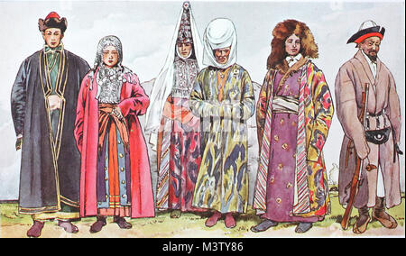 Fashion, clothes in Asian Russia, from the left, young couple from the Bashkir tribe, then a Kyrgyz girl with bridal - Stock Photo