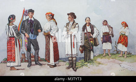 Fashion, clothes, folk costumes in Romania, from the left, a Romanian peasant woman from Wallachia in summer dress, - Stock Photo