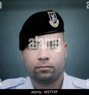 Name: Senior Airman Isaac Ramos Where they are from: 514th Security Forces Reason for visiting: Military Working - Stock Photo