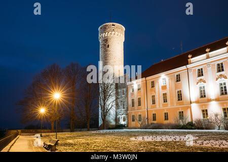 Tallinn, Estonia. Evening Night View Of Upper Town Castle Corner Tower Tall Hermann Or Pikk Hermann. - Stock Photo