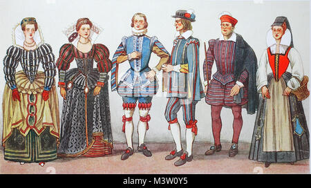 Fashion, costumes, clothing in France at the time of Spanish fashion and Henry III. around 1575-1590, noble ladies - Stock Photo