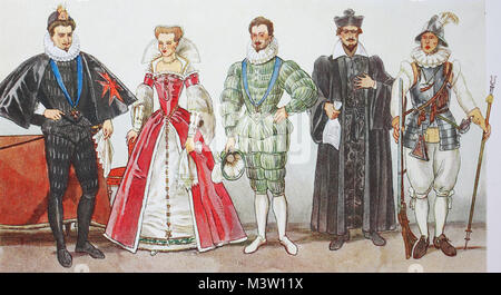 Fashion, costumes, clothing in France at the time of Spanish fashion and Henry III. 1575-1590, from left, King Henry - Stock Photo