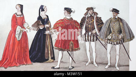 Clothing, fashion in France at the time of the Renaissance around 1500-1575, fashion of the French, distinguished - Stock Photo