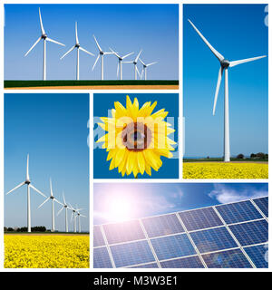 Sunflower, blue solar cells and wind turbine, environment and climage change collage - Stock Photo