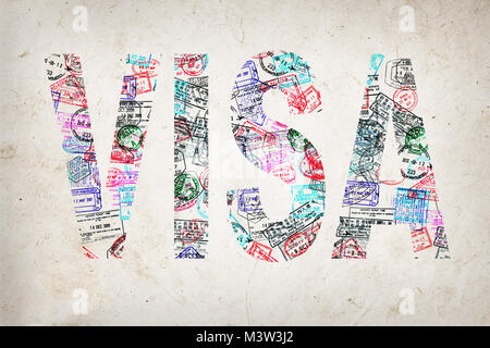 Word visa created with passport stamps on textured background, travel concept - Stock Photo