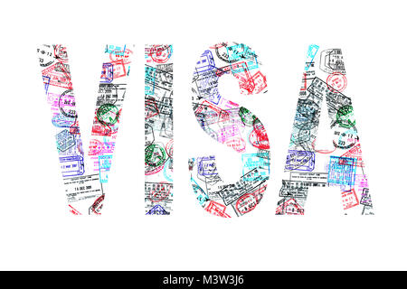 Word visa created with passport stamps on white background, travel concept - Stock Photo