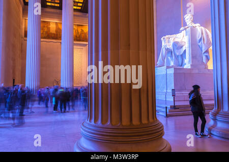 The interior of the Lincoln Memorial with visitors, Washington, District of Columbia, United States. - Stock Photo