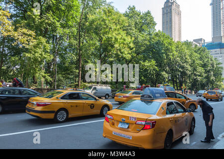 A hotel concierge was directing the taxicabs in New York City, New York, United States. - Stock Photo
