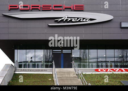 Stuttgart, Germany - February 03, 2018: The glass entrance and the modern facade of the Porsche Arena on February - Stock Photo