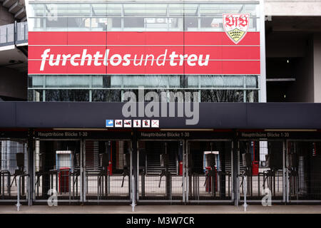 Stuttgart, Germany - February 03, 2018: The barred entrances to the Mercedes-Benz Arena with places to the grandstand - Stock Photo