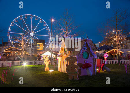 Christmas market and ferris wheel, Eyre Square, Galway city, County Galway, Ireland. - Stock Photo
