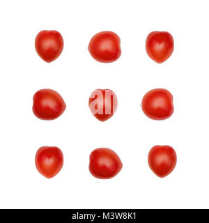Cherry tomatoes Flat lay Nine juicy cherry tomatoes are lying in a rows on white background Top view photo mockup - Stock Photo