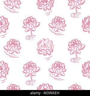 Water lily pink flowers vector seamless pattern. - Stock Photo