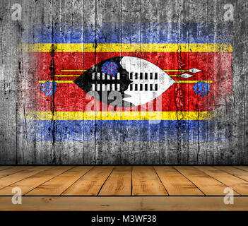Swaziland flag painted on concrete with wooden floor - Stock Photo