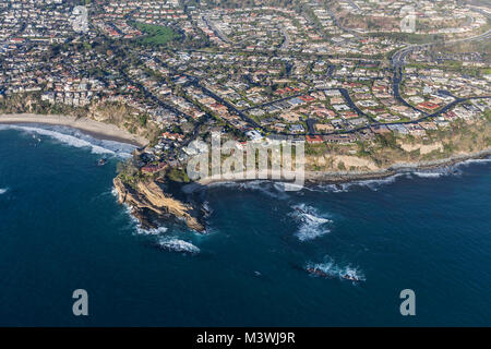 Aerial view of Mussel Cove area beaches, streets and homes in Dana Point California. - Stock Photo
