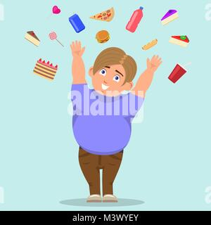 Vector cartoon fat boy catching sweets - Stock Photo