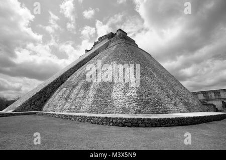Pyramid of the Magician at the Mayan ruins of Uxmal, a UNESCO World Heritage Site, Yucatan, Mexico - Stock Photo