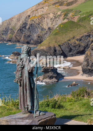 Statue of St Carannog in Llangrannog New Quay Blaencelyn Ceredigion Wales - Stock Photo