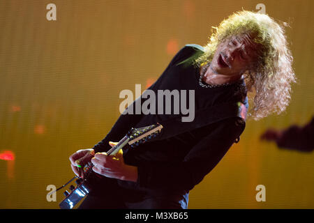 Kirk Hammett, lead guitarist of Metallica, plays a guitar solo during Metallica's set for The Concert for Valor - Stock Photo