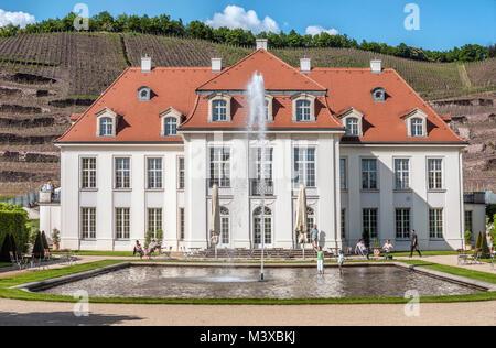 Main buidling of the Saxon State Vineyard Schloss Wackerbarth in Radebeul near Dresden. - Stock Photo