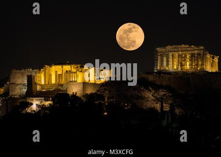 Athens Acropolis Super Moon - Stock Photo