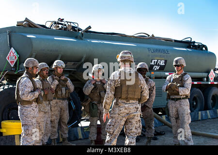 Marines with Marine Wing Support Squadron 371 plan for next refueling at the Forward Arming and Refueling Point - Stock Photo
