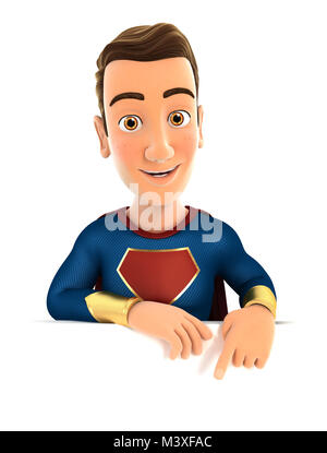 3d superhero pointing to empty wall, illustration with isolated white background - Stock Photo