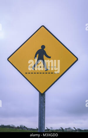Close up of a zebra crossing road sign - Stock Photo