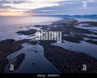 Stokksnes and the Vestrahorn Southern Iceland beautiful Mountain and Landscape drone shot arial view - Stock Photo