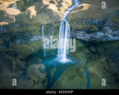 Travel to iceland seljalandsfoss waterfall of seljalands river drone pictures arial view - Stock Photo