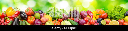 Panorama of fresh vegetables and fruits on natural blurred background of green leaves. - Stock Photo