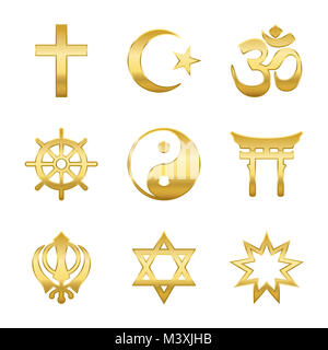 Golden world religion symbols. Signs of major religious groups and religions. Christianity, Islam, Hinduism, Buddhism, - Stock Photo