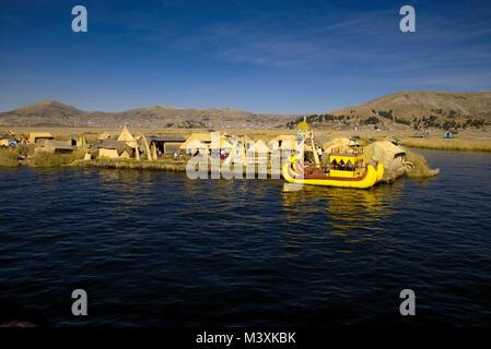 Floating Island Titicaca Lake Peru - Stock Photo