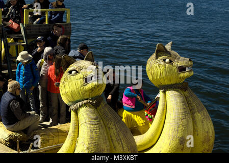 Toratora Reeds boat at Titicaca Lake Peru - Stock Photo