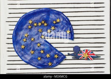 British mouse ate a piece  pizza, concept  disintegration European Union - Stock Photo