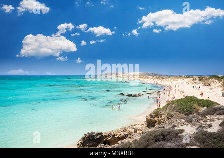 Elafonissi Lagoon, Crete Island, Greece. Elafonisi beach is one of the best beaches of Europe. There are pink and - Stock Photo