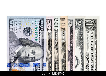 Stack of US Dollars backround. Notes face value of all US dollar - Stock Photo