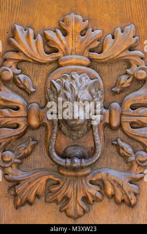 Detail of the vintage door knocker from Montalcino, Italy - Stock Photo