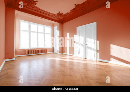 empty room in classical restored building  - real estate interior - - Stock Photo