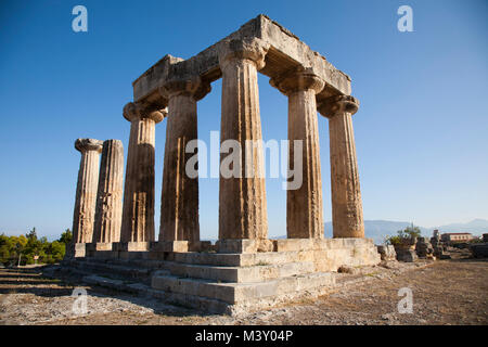 Europe, Greece, Peloponnese, ancient Corinth, archaeological site, Temple of Apollo - Stock Photo