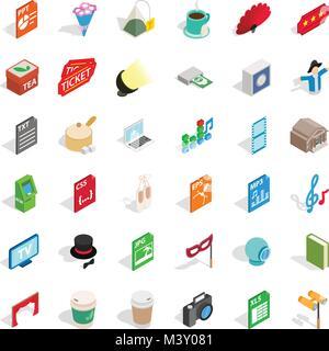 Sound engineer icons set, isometric style - Stock Photo
