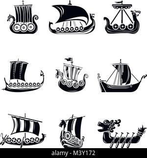 Viking ship boat drakkar icons set, simple style - Stock Photo